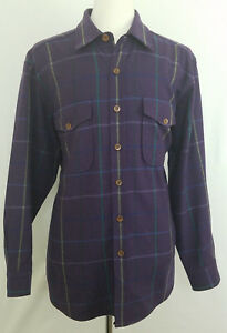 Brooks Brothers Wool Blend Lined Long Sleeve Button Front Sport Shirt L Italy