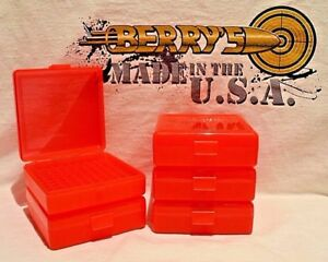 22 lr (5) Ammo Box  Case  Storage (100) Round .22LR .25 ACP (RED COLOR)