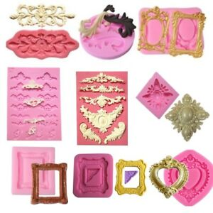 Silicone Mold Different Vintage Mirror Frame Cake Fondant Mould Decorating Tools