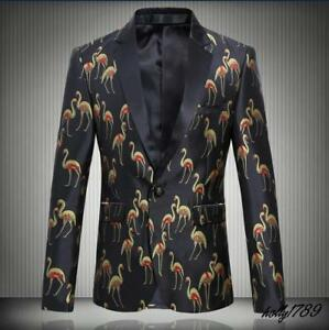 Mens Printed Birds Slim Suit Coat Fashion Clubwear Casual Dress Chic