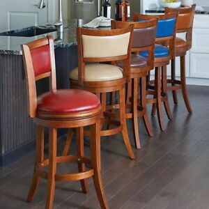 Casual Swivel Bar Stool Counter Stool With Back Faux Leather Solid Wood 2 Sizes