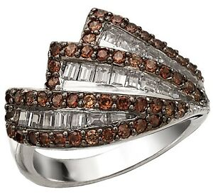 Sterling Silver Chocolate Color Cubic Zirconia CZ Cocktail Ring