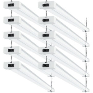 Sunco 10 Pack Frosted LED Utility Shop Light 40W (260W) 5000K Daylight 4100 lm