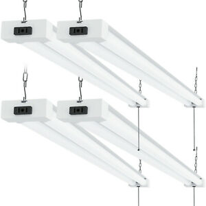 Sunco 4 Pack Frosted LED Utility Shop Light 40W (260W) 4000K Cool White 4100 lm