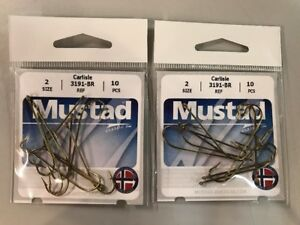 Mustad Fishing Hooks Size 2 Long Bronze Shank Fish Hooks Carlisle 2 Packs Of 10