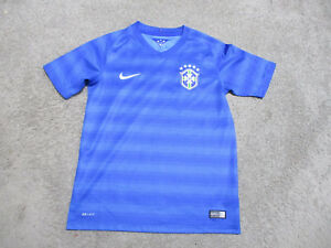 Nike Brazil Soccer Jersey Kids Youth Large Blue Futbol Dri Fit Brasil Shirt