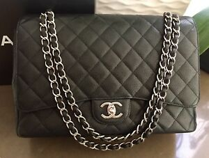 CHANEL MAXI Timeless Classic Black Double Flap Handbag In Caviar SHW A58601