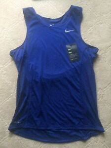 NIKE TEAM MILER TANK II MEN'S Dri-FIT Sleeveless Shirt 872014 455 Blue S