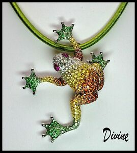 18k 9c SHADED MULTI GEM SAPPHIRE GREEN GARNET RUBY DESIGNER COUTURE FROG PENDANT
