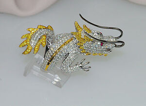 18K DESIGNER 5c INTENSE FANCY YELLOW WHITE DIAMOND FANTASY COUTURE DRAGON RING