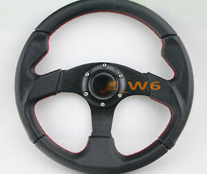 FLAT DISH 320MM 6 HOLE LEATHER & Red STITCH RACING JDM STEERING WHEEL & HORN