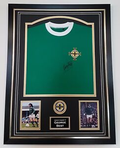 *** Rare GEORGE BEST of Northern Ireland Signed Shirt Autograph DISPLAY  ***