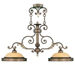Livex 8522-64 Seville Island Lighting 13in Palacial Bronze with Gilded Accents
