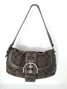 Coach Brown Signature Canvas Shoulder Bag With Leather Medium 8 in 13 in 9 in