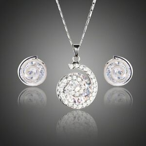 Snail Shaped Crystal Stud Earrings + Necklace Set for Women Ladies Girls MJG0214