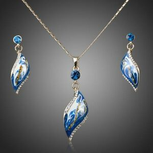 Artistic Sky Blue Drop Earrings and Necklace Set for Women Ladies Girls MJG0033