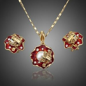 Frog Stud Earrings Necklace Set for Women Ladies Girls MJG0019