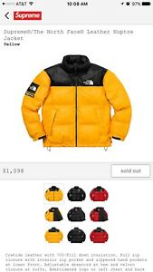 SUPREME x North Face Puffy Leather Jacket Nupste Yellow Size Large ORDER CONFIRM
