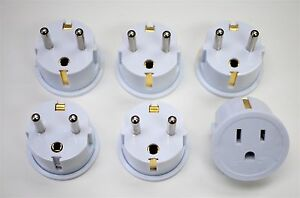 US to European Grounded Schuko Outlet Plug Adapter German France - 6 Pack