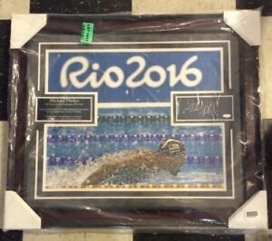 MICHAEL PHELPS SIGNED AUTOGRAPH CHIT & 23x27 FRAMED COLLAGE PHOTO w PLAQUE