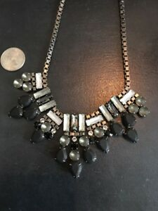 NWT Sorrelli Statement Crystal Necklace In Black Tones