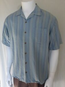 Tommy Bahama Mens M Casual Front Button with Pocket Blue Green yellow Stripes $19.70
