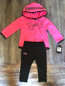 Under Armour Little Girls' UA Logo Full-Zip Pink Hoodie 12 months NWT with PANTS