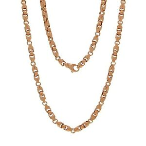 14k Rose Gold Solid Heavy Bullet Style Chain Necklace 24