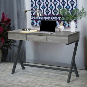 Retro Wooden Console Desk Computer Writing Table WorkStation w Drawer Grey OAK