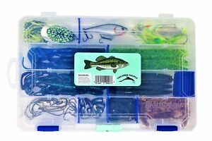 Bass Fishing Lures Tackle Box 60pc 1 Bass Crankbait 1 Topwater Frog 1 Spinner...