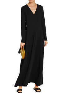 $1990 New THE ROW Seri MAXI Dress Stretch Cady Gown V Neck Black 2 6