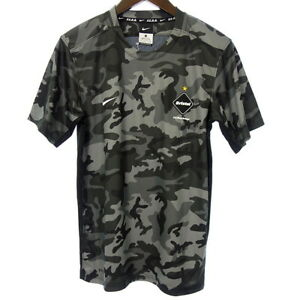 F.C.R.B DRI-FIT SS back mesh logo camouflage camouflage T-shirt S Gray series