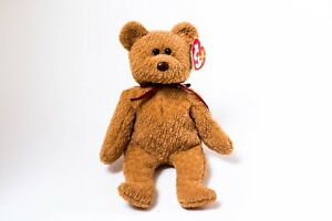 Ty Beanie Baby CURLY BEAR Brown Nose Black Eyes Multiple Errors (Tush Tag '93)