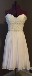 BETSEY JOHNSON EVENING Chiffon & Lace Strapless Cocktail Dress White US Size 8
