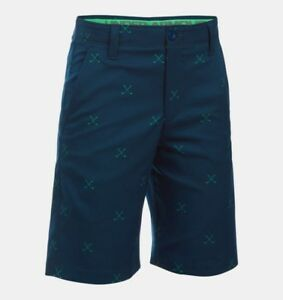 NWT UNDER ARMOUR BOYS HEATGEAR MATCH PLAY GOLF PRINT SHORTS 16 ⛳️