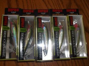 RAPALA X-RAP-08's--lot of 5 OLIVE GREEN COLORED-FISHING LURES-XR08