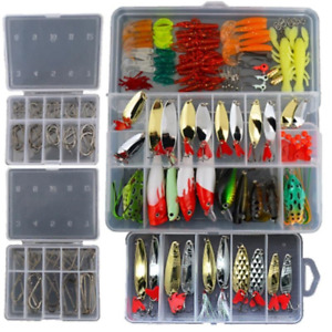 Smartonly1 Set 226Pcs Fishing Lure Tackle Kit Bionic Bass Trout Salmon Pike Fish