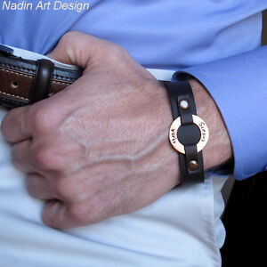 Anniversary Mens Gift. Personalized Leather Bracelet. ID Custom Washer Wristband