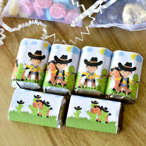 54 Cowboy Birthday Candy Labels Western Cowboy Party Stickers Hershey Miniatures $10.99