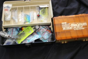 TWO VINTAGE TACKLE BOXES ONE STUFFED FULL