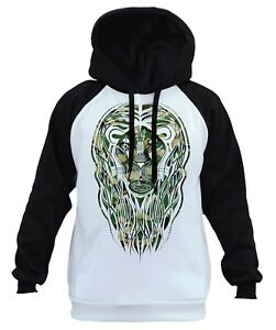 Men's Camo Tribal Lion White Raglan Hoodie Animal Wildlife Hunting Beast B247