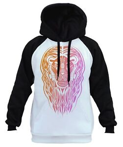 Men's Orange Tribal Lion White Raglan Hoodie Animal Wildlife Hunting Beast B249