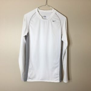 NIKE PRO COMBAT Fit Dry MENS Large Long Sleeve Compression Shirt White