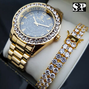 MEN'S HIP HOP CELEBRITY STYLE LUXURY WATCH & 2 ROWS DIAMONDS BRACELET GIFT SET