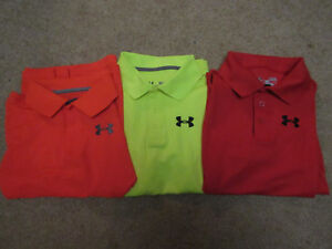 3  piece lot Under Armour Boy's Golf Heat Gear Polo Shirt Youth Large YLG EUC!