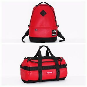 Supreme X The North Face Duffel & Backpack Red Leather! 17 yrs of AUTHENTICS!
