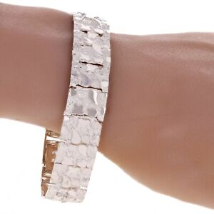 Sterling Silver Adjustable Solid Nugget Style Bracelet 7.75