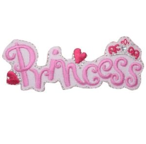 Princess Applique Patch Pink with Hearts Iron on