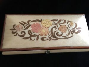 "Vtg Large 11"" x 5"" Reuge Music Trinket Box Inlaid Wood Italy Swiss Movement"