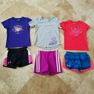 Under Armour Girls Shirt and Shorts Outfits Size 5 Lot (6)